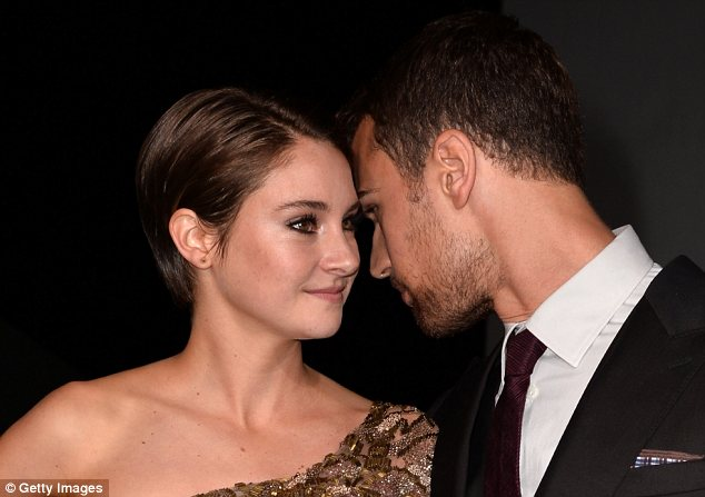 Cosy: Shailene cosied up to her on-screen love interest Theo James, who plays hunky instructor Four
