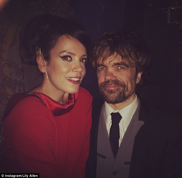 Fan girl: The singer posed with a picture with actor Peter Dinklage, who portrays Tyrion Lannister in the series