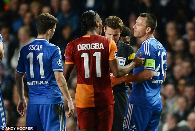 Argue: The two players are fiercely competitive and all friendly chat was cast aside for the 90 minutes