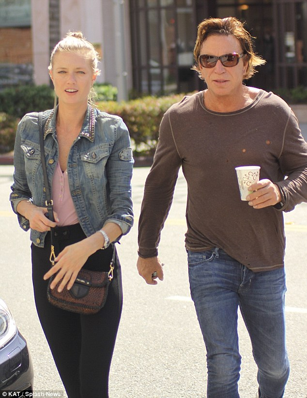 Day out: Mickey Rourke took his 27-year-old girlfriend, Anastassija Makarenko, out jewellery shopping