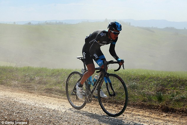 Major doubt: Henao - seen here riding in the Strade Bianchi earlier this month - is likely to miss the Giro d'Italia