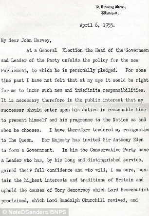 Churchill wrote the letter on April 6, 1955, the day after tendering his resignation to the Queen following his second term in office