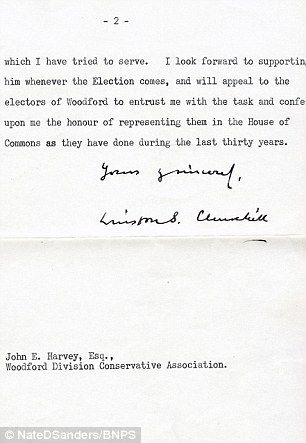 In the two-page typewritten letter to prospective Conservative candidate John Harvey, Churchill, then 81, admits he could not face another four-year term