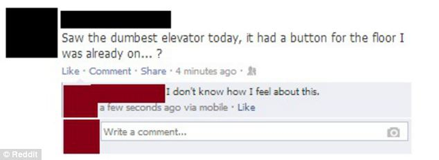How ironic: Had this person never been in a lift before taking to Facebook enraged?