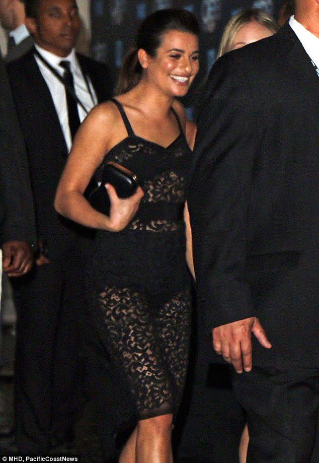 Feeling glee-ful: The former Broadway star was all smiles as she kept her stride at the party