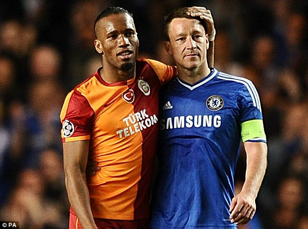 Good pals: Didier Drogba and John Terry have a moment during Chelsea's win over Galatasaray on Tuesday