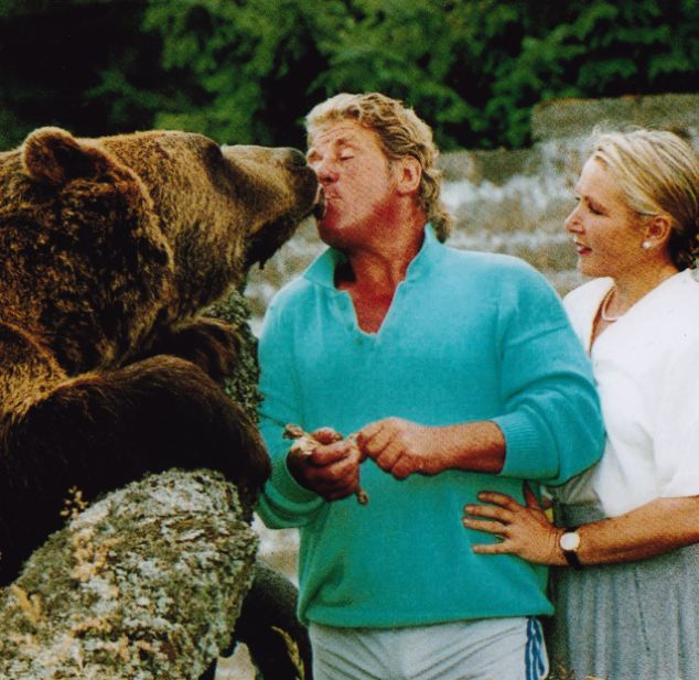 Pucker up! Andy and Maggie Robin were incredibly close to their grizzly bear Hercules. Andy personally trained him and the three lived as a family for 25 years