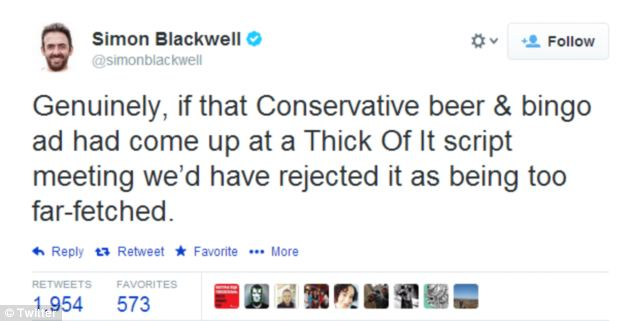 Simone Blackwell, a writer on political satire The Thick Of It, said the ad was beyond satire