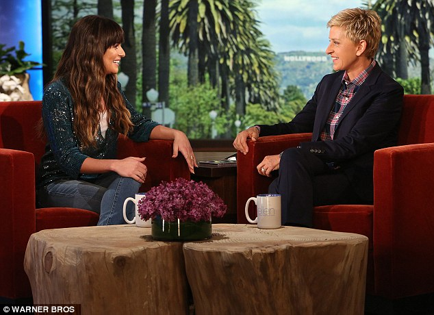 A lovely chat: Michele and host Ellen DeGeneres were all smiles as they conversed with one another