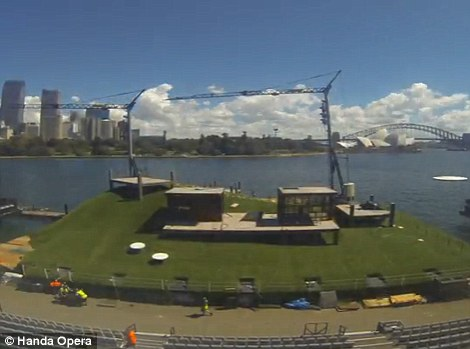 Harbour stage: It took three weeks to construct the stage at Mrs Macquarie's Chair