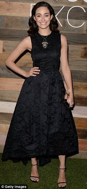 Glamorous: Emmy Rossum oozed old Hollywood glamour as she arrived at the H&M dinner at Eveleigh in West Hollywood last week