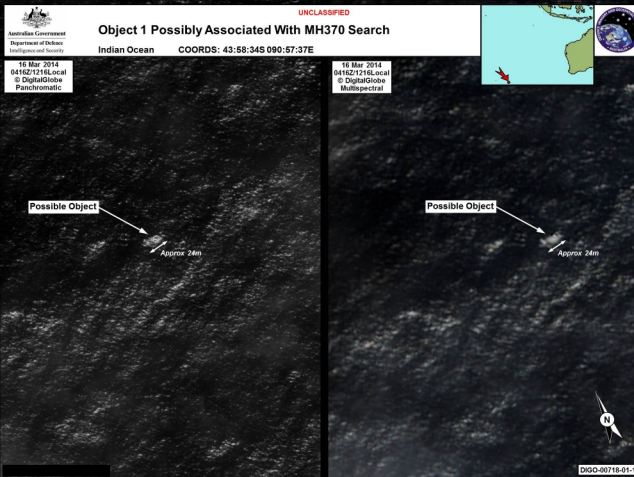 Pictured: Satellite pictures released by the Australian Maritime Safety Authority of the object thought to be related to the search for MH370