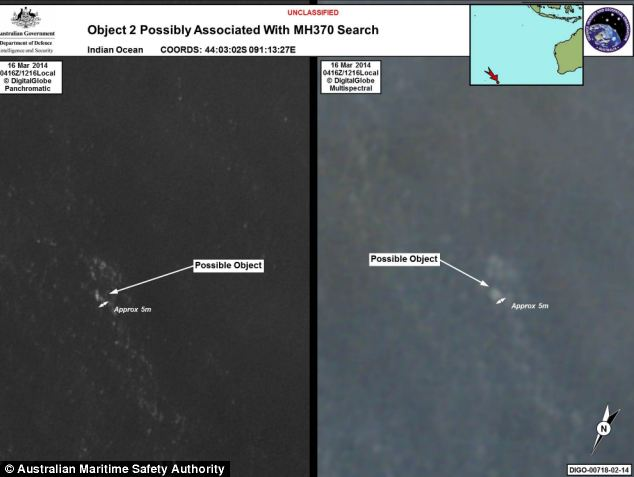 The debris was spotted on satellite imagery and a total of four aircraft have been sent to investigate the sighting, some 1553 miles off the coast of Perth