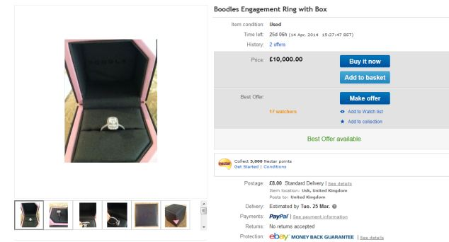 The Boodles engagement ring with box Natasha Gascoine received is being sold for £10,000