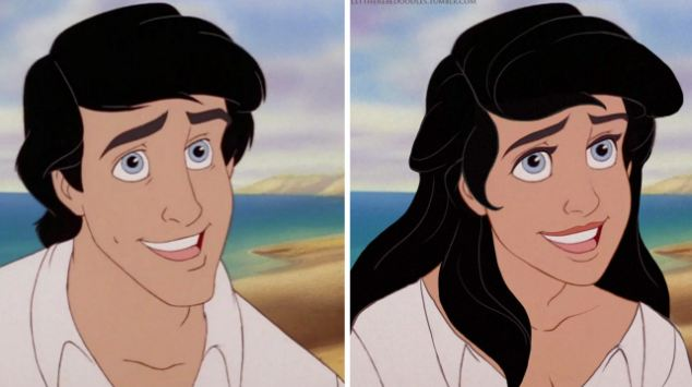 In TT Brett's 'Genderbent Disney' project, Prince Eric from The Little Mermaid is also transformed to a woman, with a thick slick of eyeliner, long flowing hair and a slimmer frame with a hint of a cleavage