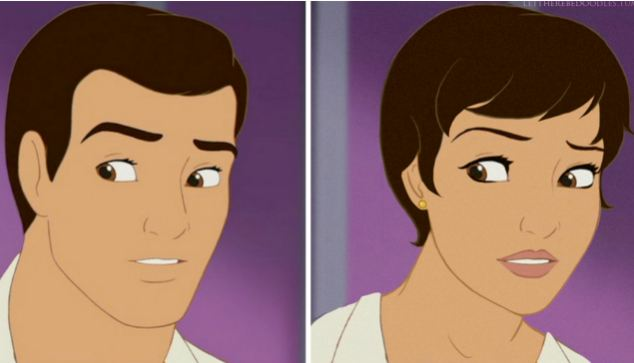 Prince Charming as you've never seen him before! Cinderella hunk gets the 'Genderbent' treatment by artist TT Brett on her blog, Let There Be Doodles