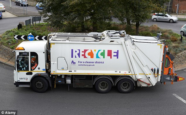 The area is only about 60 yards across but the city council insists the purple rubbish sacks are carried to the Serco trucks by residents (stock picture)