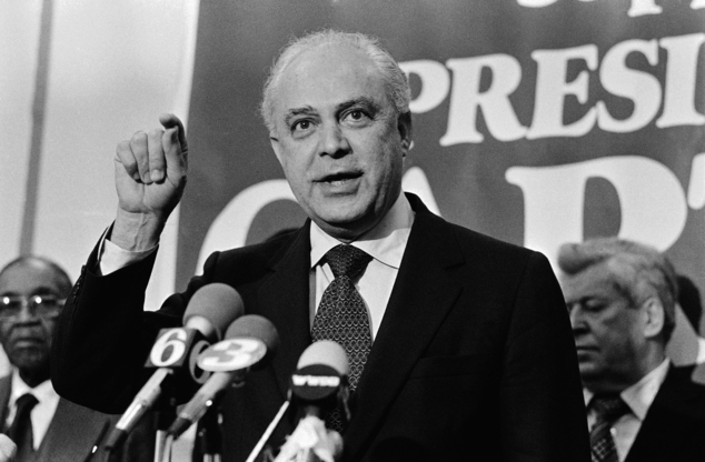 FILE - In this April 9, 1980, file photo, Robert Strauss, President Jimmy Carter's national campaign chairman predicts during a news conference in Philadelph...
