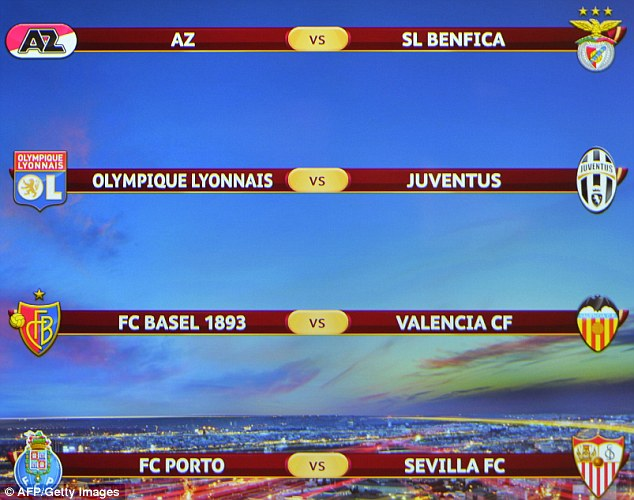 The draw in full: AZ face Benfica, Lyon host Juve, Valencia travel to Basel and Porto play Sevilla