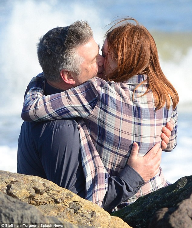 From here to eternity: Alec Baldwin shared a passionate kiss with Julianne Moore during a romantic beach scene for Still Alice in Long Island, New York