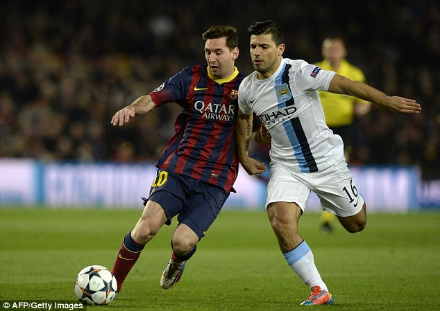 Sidelined: Sergio Aguero (right) damaged his hamstring during City's loss at Barcelona