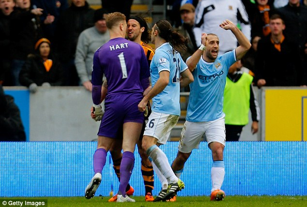 Stay calm: Pellegrini warned his players to keep their cool after Joe Hart's bust-up with Hull's George Boyd