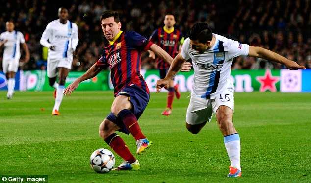 Tweaked: Aguero picked up the knock during the Champions League defeat against Barcelona