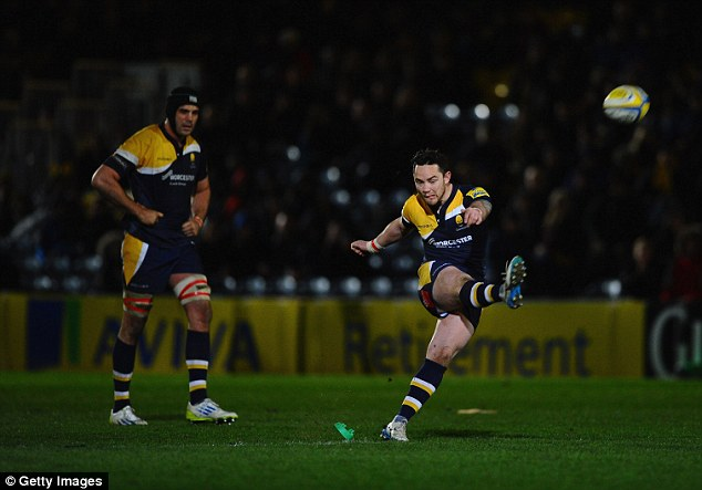Kicking in the right direction: Worcester's Ryan Lamb attempts to score a penalty against Wasps
