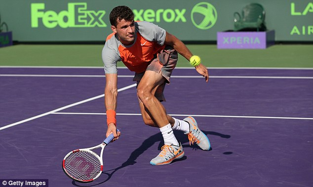 Getting low: Grigor Dimitrov battled to victory in three sets over Albert Montanes at Crandon Park