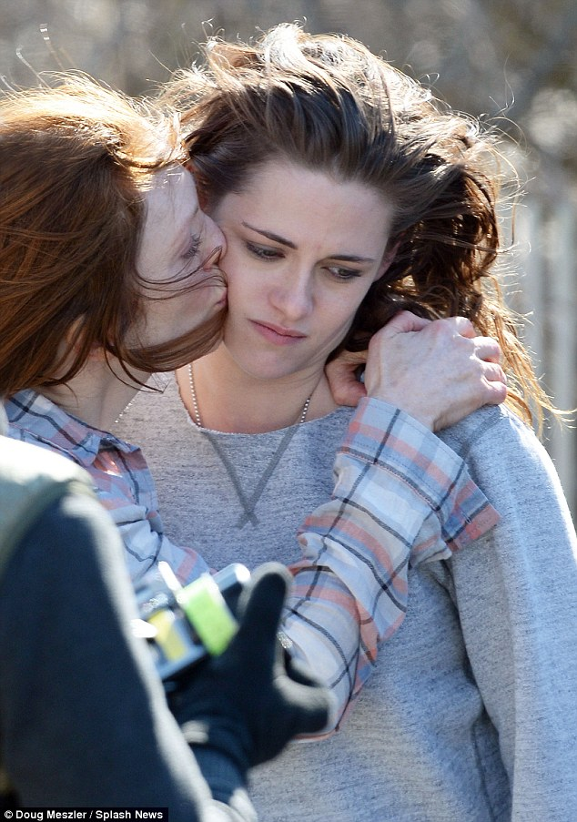 Tender moment:  At one point in the filming, Julianne kissed a sad-looking Kristen on the cheek
