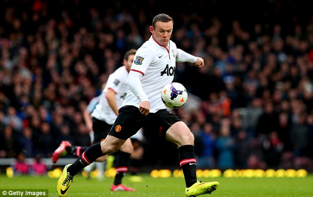 Goal from nothing: Rooney hits the ball from 57.9 yards to score the opening goal at Upton Park