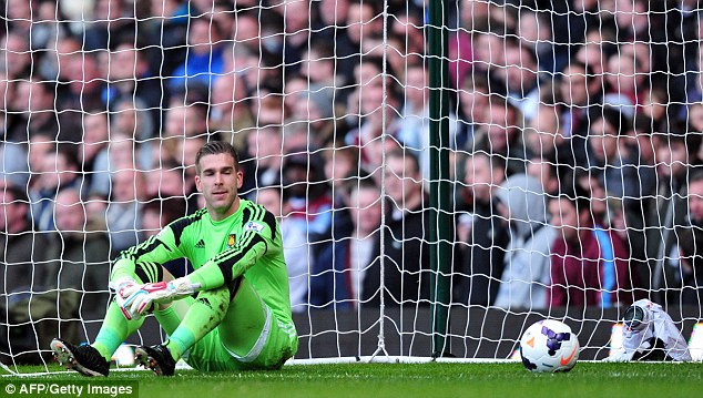 Stumped: Adrian looks dejected after the ball somehow found its way in the net