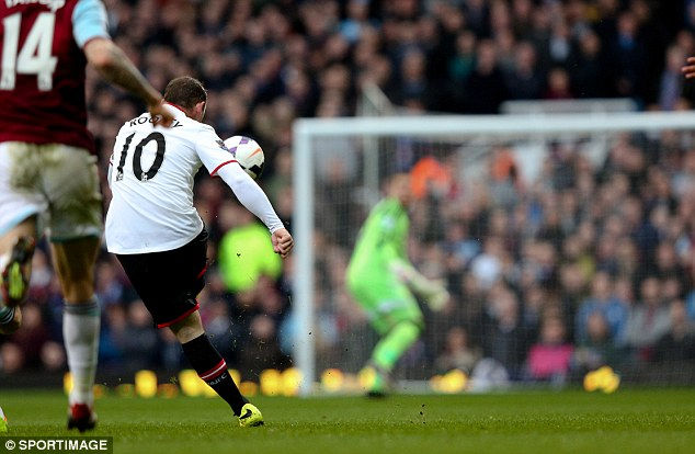 Unbelievable: Wayne Rooney scores from just inside West Ham's half after seven minutes