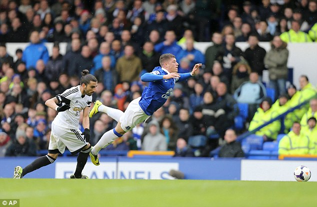 Sucked in: Barkley drew the foul from Chico Flores that led to the penalty, which Leighton Baines scored for 1-0