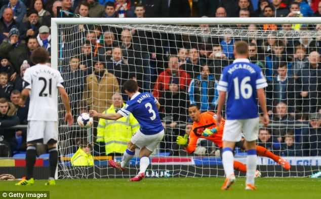 Slotted: Baines dispatched the spot kick with consummate ease after 20 minutes at Goodison Park
