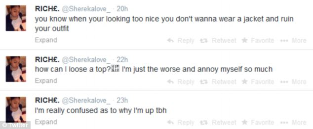 Final tweets: The teenager took to Twitter at midday on Saturday - just hours before the shooting took place