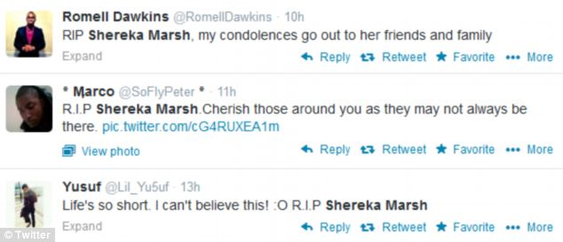 Offering condolences: Dozens of people have taken to social-networking sites to pay tribute to Miss Marsh