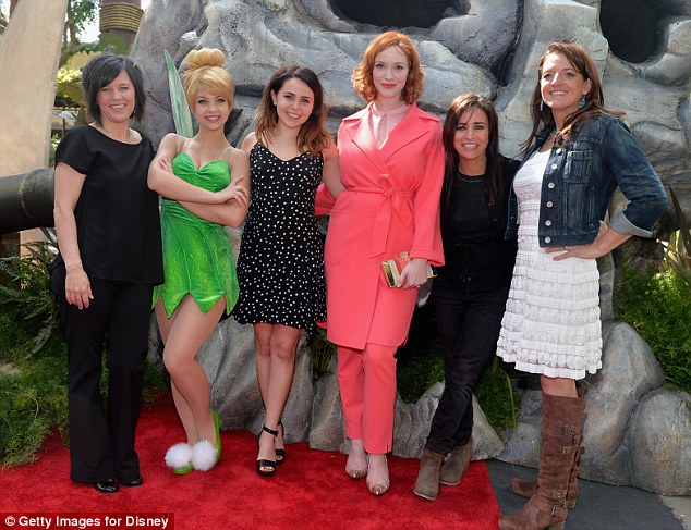A team effort! The Mad Men star posed with director Peggy Holmes (far left), Tinker Bell, Mae Whitman (who voices Tinker Bell), Pamela Adlon (who voices the fairy Vidia), and producer Jenni Magee-Cook