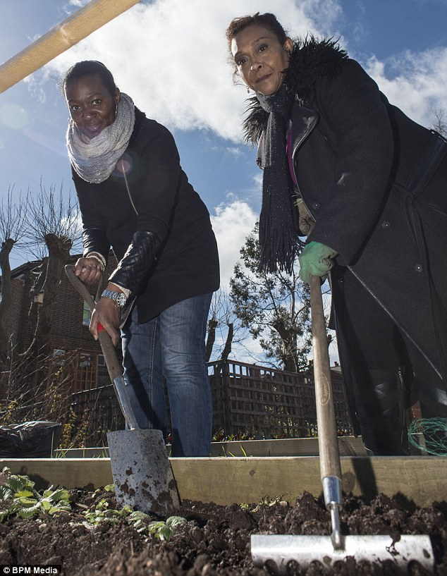 Seeds for success: Residents of Winson Green Joy Bailey and Sonia Peyando get behind the competition