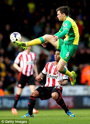 Eyes on the prize: Bridcutt gets in tight on Norwich's flying Jonathan Howson