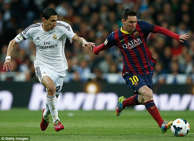 Marauding run: Di Maria attempts to get close to Messi in a bid to challenge his fellow Argentine