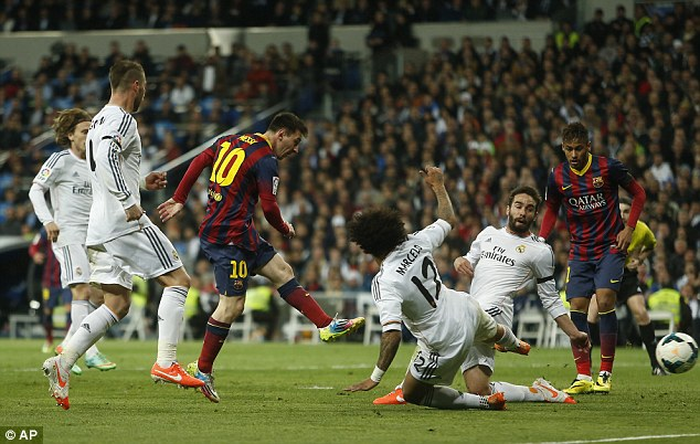 All square: Barcelona frontman Messi equalises to make it 2-2 minutes before the half-time whistle