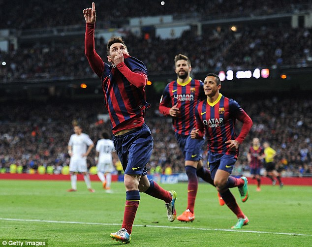 Matchwinner: Messi points to the Barcelona support as Gerard Pique (centre) and Alexis Sanchez catch up