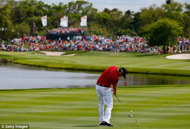 Approach: Keegan Bradley took second place with consecutive birdies towards the end of his round