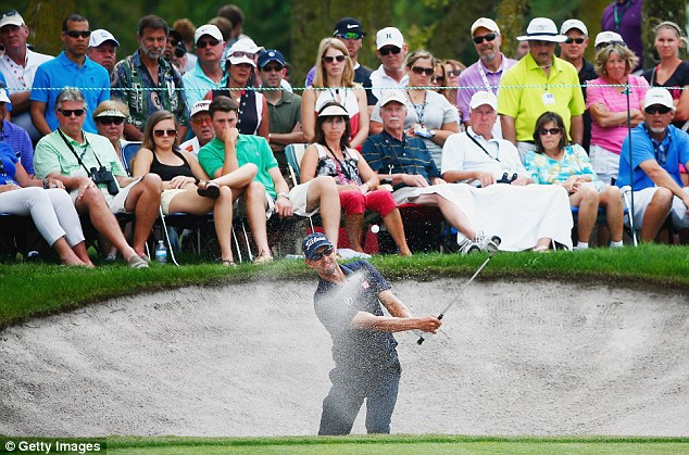 Bunkered: Scott's disastrous last day saw him finish in third, two strokes behind winner Every