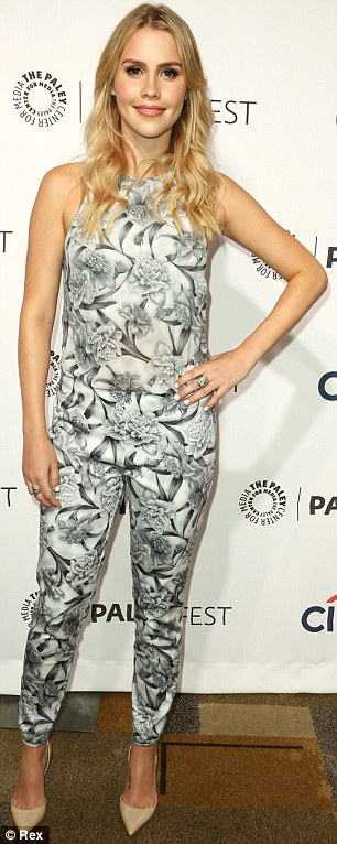 Classic florals: The actress opted for a monochromatic colour palate when she attended the PaleyFest 2014 Originals Presentation at the weekend