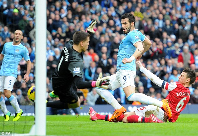 And again: Alvaro Negredo (C) scores during Manchester City's 6-3 defeat of Arsenal on December 14 2013