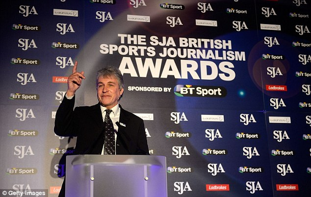 Eyes on the prize: John Inverdale speaks during the award ceremony in Holborn, London
