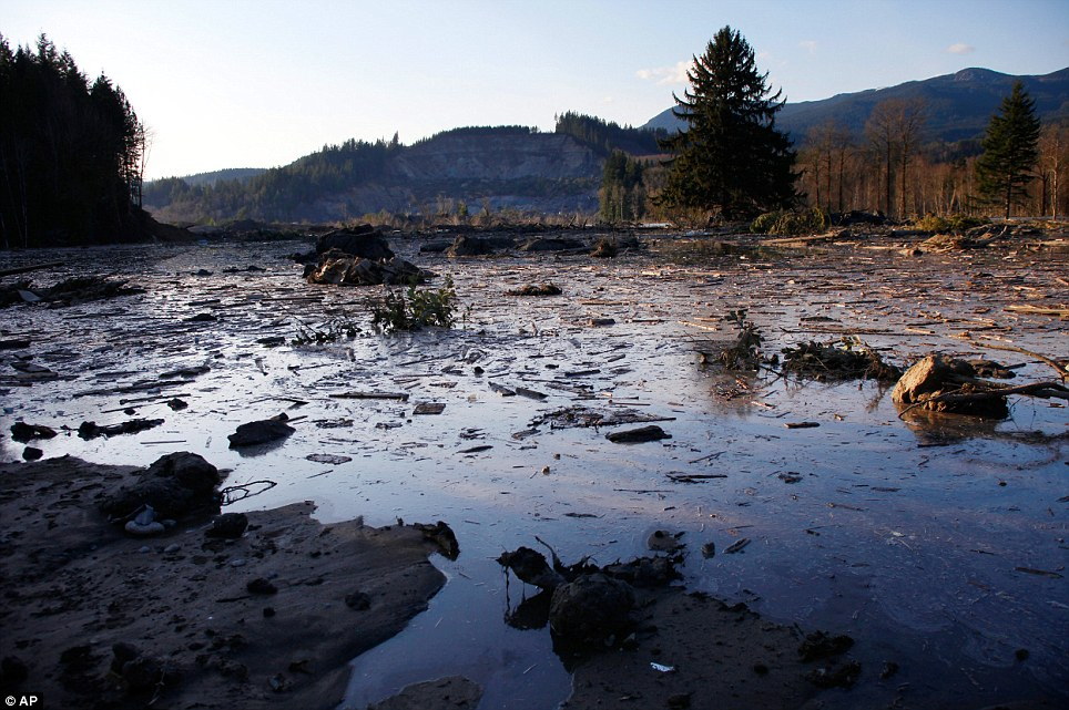 Debris: Water and mud back up on the east side of Saturday's fatal mudslide near Oso, in Washington