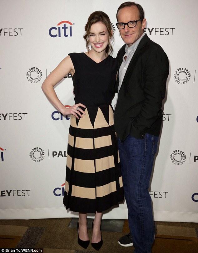 Television stars: Elizabeth Henstridge and Clark Gregg attended Paleyfest on Sunday for a presentation of Marvel's Agents of SHIELD